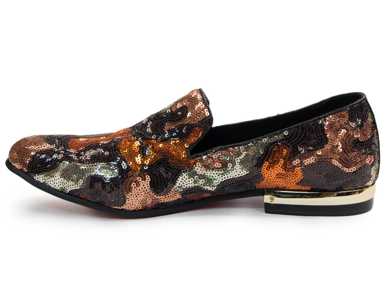 Fiesso Mens Brown Leather Allover Sequin Design Red Bottom