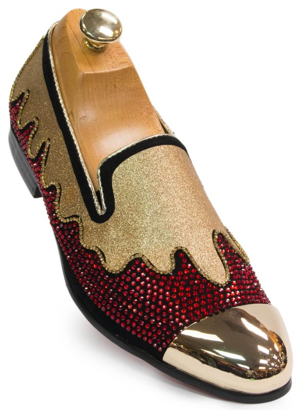 Fiesso Mens Red Gold Glitter Rhinestone Metal Cap Toe Party Loafer Shoe