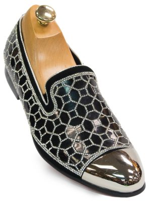 Fiesso Mens Black Silver Rhinestone Geometric Design Metal Toe Dress Shoe