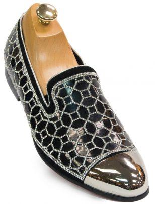 Fiesso Mens Black Silver Rhinestone Geometric Design Metal Toe Dress Shoe