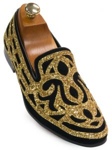 Fiesso Mens Black Suede Gold Glitter Stencil Design Dress Party Trendy Loafer