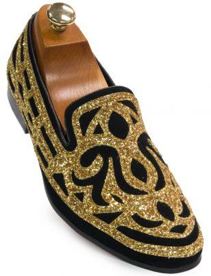 Fiesso Mens Black Suede Gold Glitter Stencil Design Dress Party Trendy Loafer