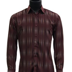 Bassiri Wine Black White Graphic Pattern Polka Dot Button Up Shirt