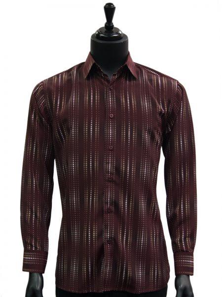 Bassiri Wine Black White Graphic Pattern Polka Dot Button Up Shirt