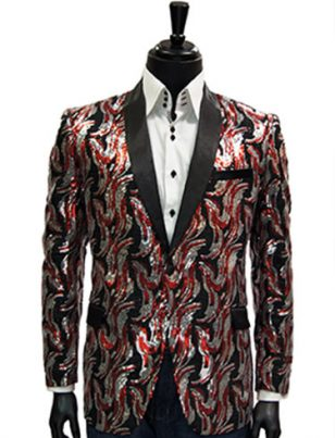 Manzini Mens Silver Red Black Sequin Dazzling Satin Lapel Dress Casual Blazer
