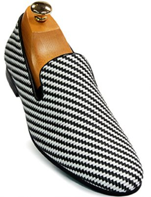 Mens Giorgio Brutini Black White Weaved Pattern Loafer Shoe