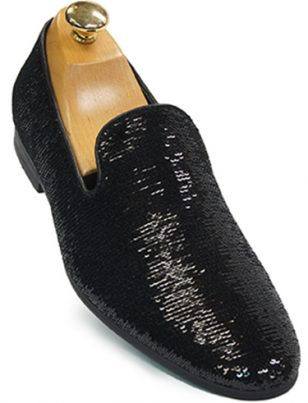Mens Giorgio Brutini Black Sequin Slip On Loafer Shoe