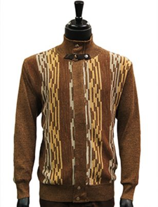 SilverSilk Mens Ginger Tan Pattern Mock Neck Trendy Lightweight Zip Up Cardigan