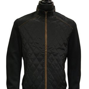 Barabas Black Quilted Suede Short Zip Up Bomber Jacket