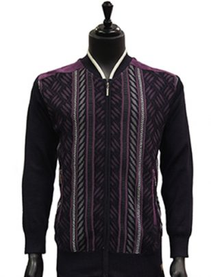 SilverSilk Mens Purple Multi Color Pattern Zip Up Lightweight Cardigan Sweater