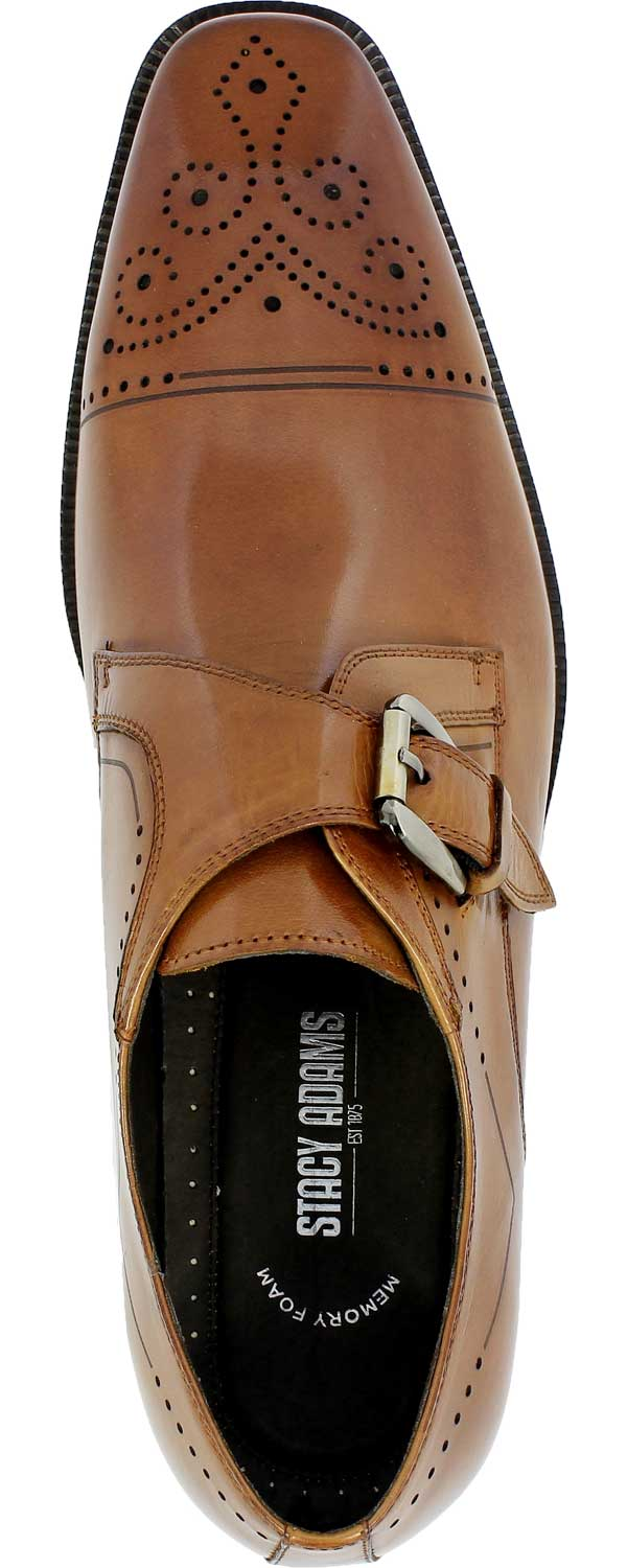 6466cf0a78e Stacy Adams Men Tan Leather Kimball Wingtip Monk Strap Oxford SlipOn Dress  Shoe