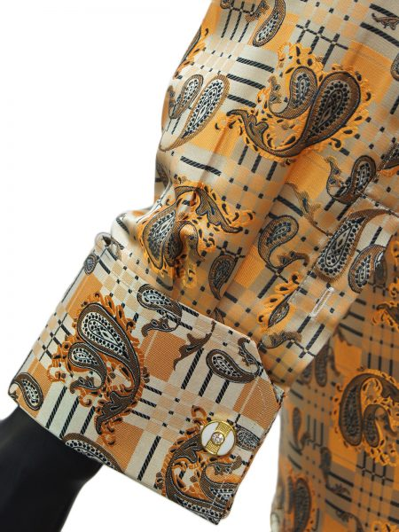Manzini Orange Black Multi Jaquard French Cuff High Collar Dress Shirt