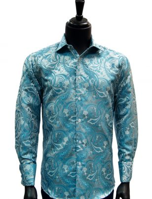 Manzini Aqua Blue Paisley French Cuff Trendy Dress Button Down Mens Shirt