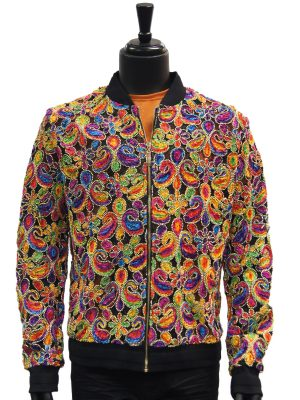 Giovanni Testi Rainbow Multicolor Paisley Stitched Bomber Jacket