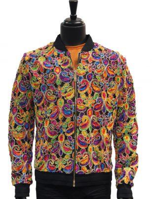 Giovanni Testi Rainbow Multicolor Paisley Stitched Bomber Jacket