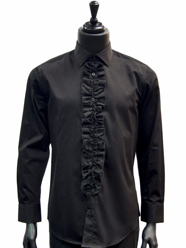 Giovanni Testi Black Ruffled High Collar Button Up Dress Shirt