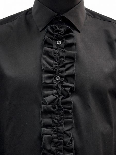 Giovanni Testi Black Ruffled High Collar Button Up Dress Shirt