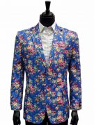 Stacy Adams Blue Multicolor Floral Design Casual Fun Two Button Blazer Jacket