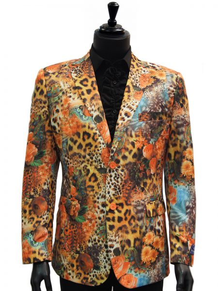 Blu Martini Mens Cheetah Floral Paisley Pattern Multicolor Party Blazer