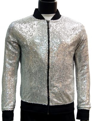 Giovanni Testi Silver Sequined Zip Up Bomber Jacket