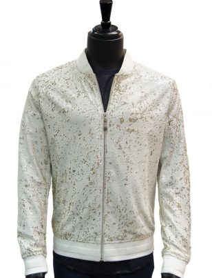 Giovanni Mens White Gold Sequin Zip Up Bomber Style Dress Formal Trending Jacket