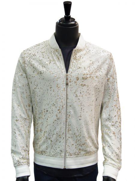 Giovanni Mens White Gold Sequin Zip Up Bomber Style Dress Formal Trending Jacket
