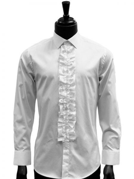 Giovanni Testi White Ruffled High Collar Button Up Dress Shirt