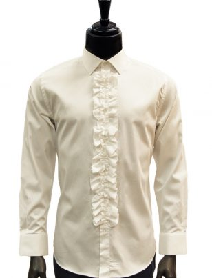 Giovanni Testi Cream Ruffled High Collar Button Up Dress Shirt