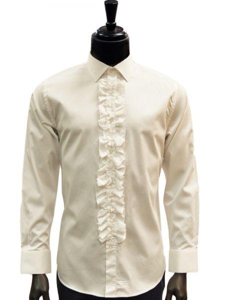 Giovanni Testi Cream Ruffled High Collar Button Up Dress Shirt