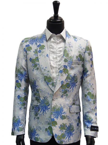 Navco After Midnite Mens Gray Blue Green Floral Dress Trendy Party Blazer