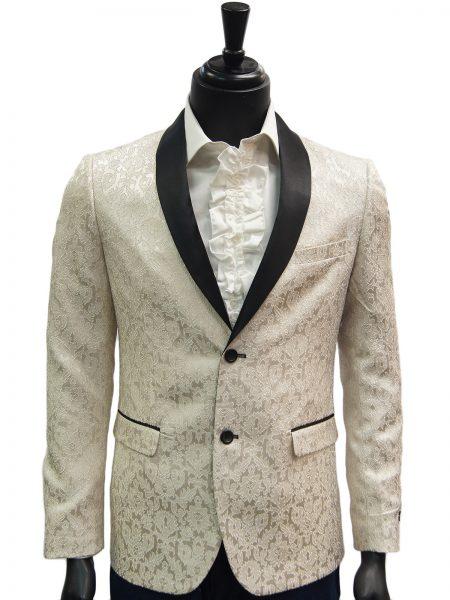 Fabio Fabrinni Mens Cream Black Vintage Pattern Satin Dress Blazer