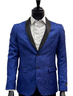 Fabio Fabrinni Mens Blue Black Vintage Pattern Satin Dress Blazer