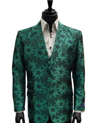 Blu Martini Green Navy Floral Dress Casual Fun Blazer