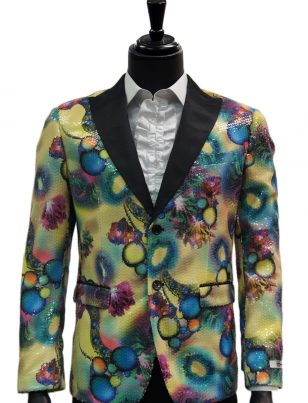 Giovanni Testi Multicolor Abstract Sequin Dress Party Trendy Blazer