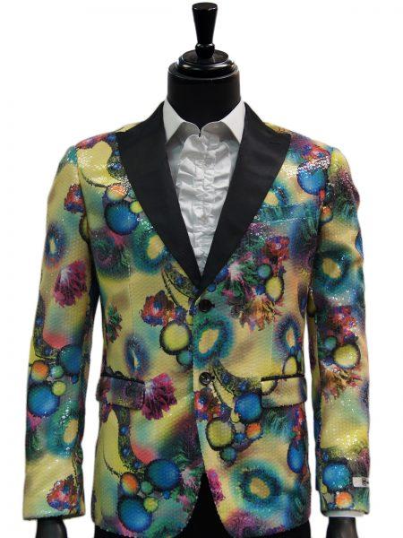 Giovanni Testi Multicolor Abstract Sequin Dress Party Trendy Blazer