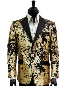 Barabas Mens Black Gold Matte Sequin Dress Trendy Fun Blazer