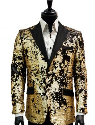 Angelino Mens Black Gray Gold Leaf Bling Trendy Dress Casual Fun ...