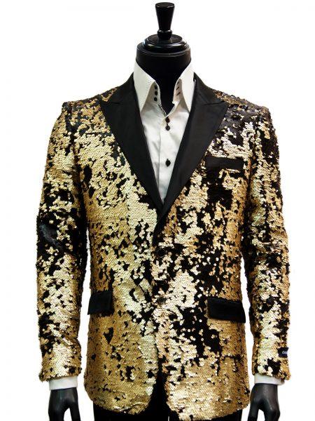 Barabas Mens Black Gold Matte Sequin Dress Trendy Fun Blazer