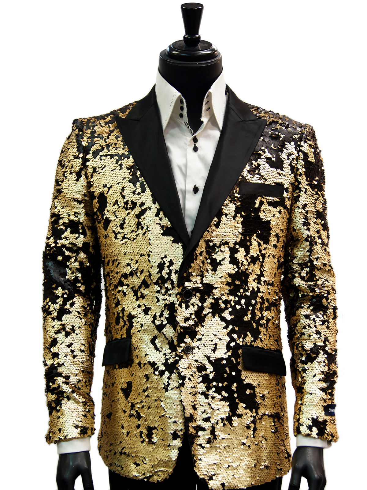 Mens Black Matte Gold Allover Sequin Pattern Dress