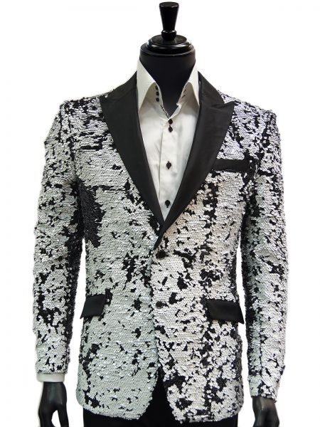 Barabas Mens Black White Shiny Sequin Dress Trendy Fun Blazer