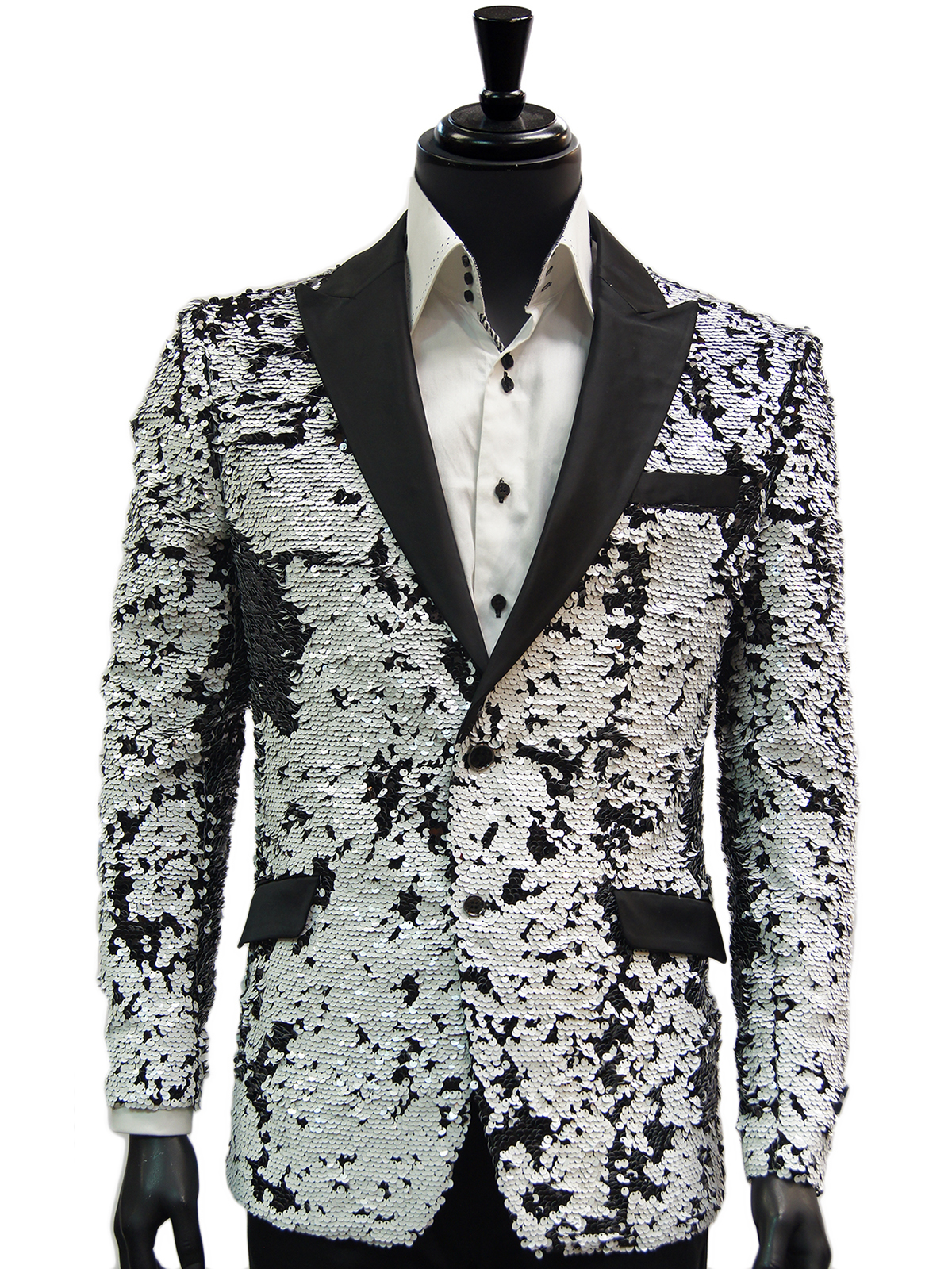 423e71cb1 Mens Black White Sequin Shimmer Pattern Satin Lapel Dress Trendy Fun Blazer
