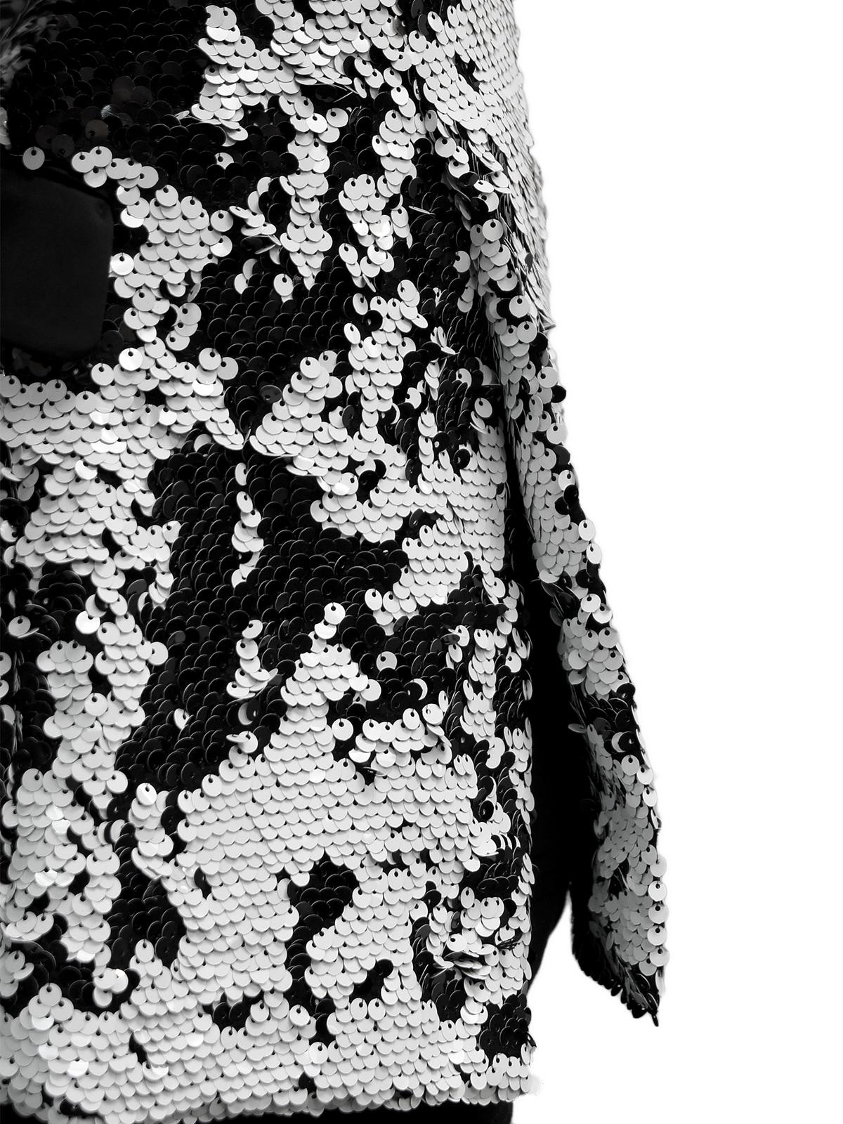 7bb726fa081 Mens Black White Sequin Shimmer Pattern Satin Lapel Dress Trendy Fun ...