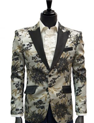 Angelino Mens Black Gray Gold Floral Shiny Trendy Dress Fun Blazer