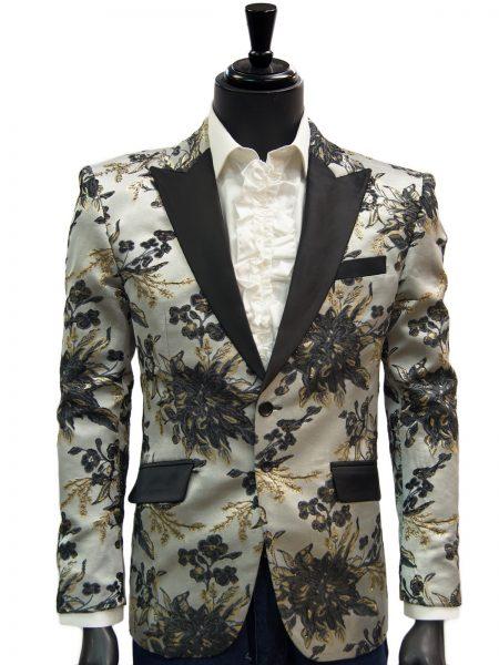 Angelino Mens Black Gray Gold Floral Shiny Trendy Dress Fun Blazer