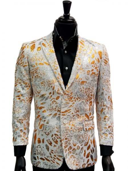 Navco Mens White Gold Silver Patterned Sequin Trendy Party Blazer
