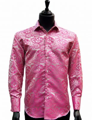 Manzini Fuchsia Pink Paisley French Cuff Trendy Dress Button Down Mens Shirt