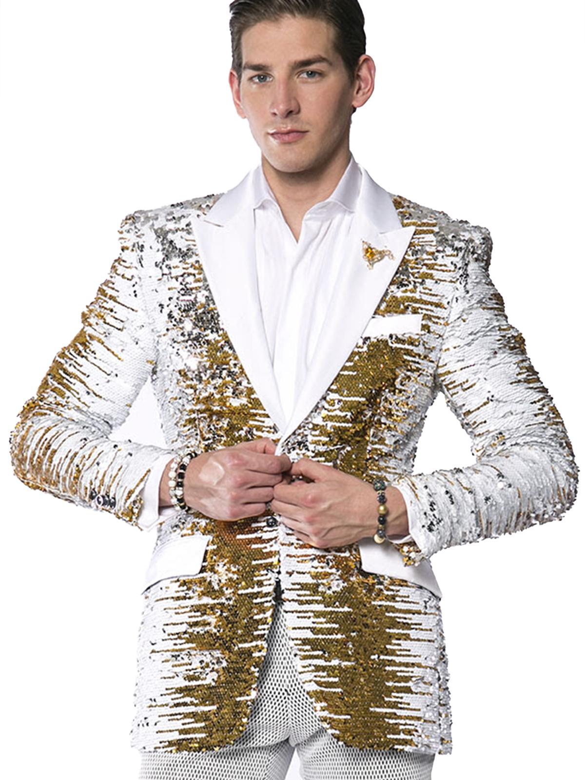 Angelino Men Gold White Silver Sequin Satin Lapel Party