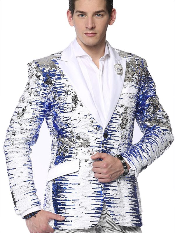 Angelino Mens Blue White Silver Sequin Gradient Satin Lapel Party Blazer
