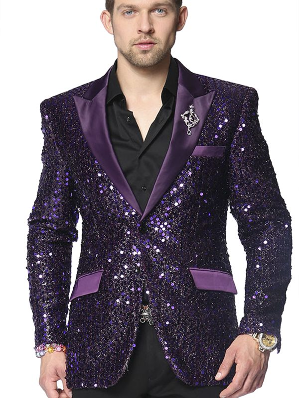 Angelino Mens Purple Sequin Satin Lapel Fun Trendy Party Blazer