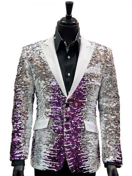 Angelino Mens Purple White Silver Gradient Satin Lapel Party Blazer